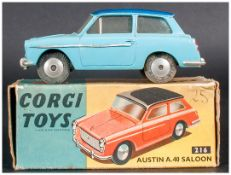 Corgi Toys No 216 Austin A.40 Saloon, Light Blue Body, Dark Blue Roof, Complete With Blue/Yellow
