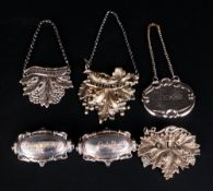 Victorian - Good Collection of Silver Plated Spirit Labels with Various Designs, Shapes and Sizes,