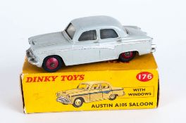 Dinky Toys No 176 Austin A105 Saloon With Windows Diecast Model. Grey Body With Silver Side Flash,