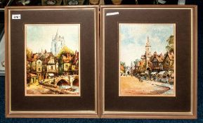 R H Holgate Pair Of Framed Watercolours, Market Town Street Scenes. 13 x 10 Inches