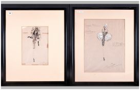 Berkley Suttcliffe Two Costume Designs From Panama Hattie  both watercolour and pencil on paper, One