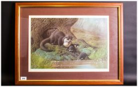 C David Johnston 1946 Limited Edition And Pencil Signed By The Artist Colour Print, Otter Family.
