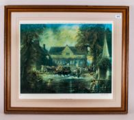 Tom Keating Limited Edition Framed Print. Depicting 'Constables Flatford Mill' Pencil signed to