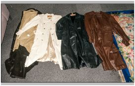 Collection Of Four Full Length Leather/Leatherette Coats, various designs & colours