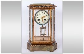 French 19th Century Samuel Marti Champleve Green Onyx Ormolu and Enamelled Four Glass Table Clock.