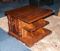 Cherrywood Low Table/Coffee Table with open shelf segments for books with side cupboards. 27x27''
