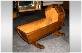 A Victorian Pine ' Scrumble Finish ' Cradle on Rockers. 3 ft Long x 15 Inches Wide, Panelled Body.