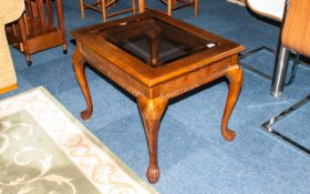 Reproduction Mahogany Glazed Top Coffee Table in the Georgian style, with carved cabriole legs and