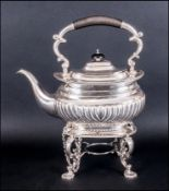 Edward VII Silver Spirit Kettle & Stand Of Regency Form with half fluted decoration & pie-crust