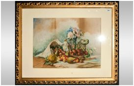 Large Watercolour By Kenworthy Depicting Still Life Of Fruits On A Table, gilt frame, mounted &