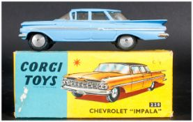Corgi Toys No 220 Chevrolet ''Impala'' Car Model Blue Body, Complete With Blue/Yellow Picture Card