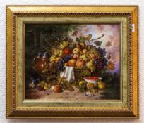 Elia Josza Hungarian Artist Born 1920's ' Stillife ' Study of Fruit In a Basket, Flagon - Fallen