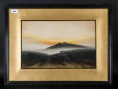 Watercolour Landscape Drawing Of An Eventide Landscape signed by Norman Saville, Framed & Glazed.