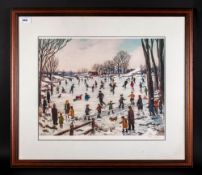 Tom Dodson Pencil Signed Limited Edition Colour Print Titled 'Ice Skating In The Park' fine art