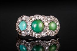 Antique 18ct Gold & Platinum Set Diamond & Turquoise Ladies Ring The 3 Turquoise Stones Surrounded