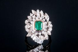 Art Deco 18ct White Gold Set Emerald & Diamond Cluster Ring, the central emerald surrounded by