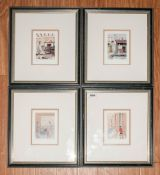G W Birks Set of Four Postcard Size Pencil signed Limited and numbered colour prints. Titled  1. '