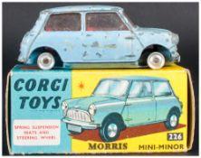 Corgi Toys No 226 Morris Mini-Minor, Light Blue Body, Complete With Blue/Yellow Picture Card Box,