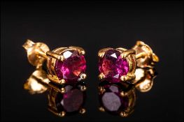 Rhodolite Garnet Stud Earrings, round cut solitaires of the rich red, blackcurrant and deep pink