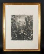 Framed Print Of Ginhane Black & White Engraving After William Hogarth 30x22''