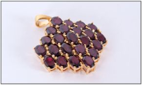 Burgundy Red Garnet Large Cluster Pendant, 23 oval cut deep, rich red garnets, with flashes of