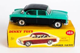 Dinky Toys No 165 Humber Hawk Diecast Model. Green/Black Body, Blue Hubs. Red And Yellow Picture