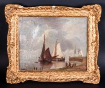 A. Hulk, Small Marine Oil on Canvas, Depicting a Dutch Estery Scene with Boats and Figures on The