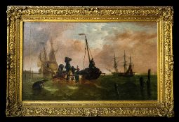 Large French or Dutch Oil on Canvas Depicting a Small Vessel with Figures Sailing Out to Larger