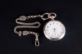 Swiss Antique Silver Keyless Open Chronometer Pocket Watch. Marked 800. 15 Rubies, Balance