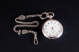 Swiss Antique Silver Keyless Open Chronometer Pocket Watch. Marked 800. 15 Rubies, Balance