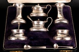 George V Fine Silver Six Piece Cruet Set, Complete with Blue Liners and Spoons. Hallmark