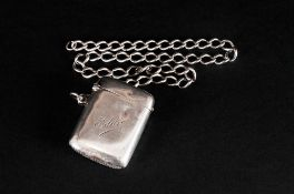 Edwardian Silver Vesta Case & Attached Silver Albert Chain, Hallmark Birmingham 1909. 43 gram.