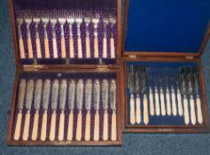 Boxed Set Of Fish Knives And Forks, Bone Handles, Oak Case, Set For 12, 1 Knife Missing Together