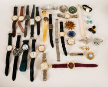 Mixed Lot Of Costume Jewellery And Wristwatches Comprising Sekonda, Rojas, Timex, Rotary, Uno