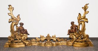 A Fine Regency Period 3 Piece Bronze and Brass Ornate Fireplace Andiron Fender with Bronze Figures