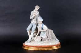 Lladro Group Figure ' Couple Pastoral ' Issued 1969-1978. Height 11.5 Inches with Stand.