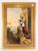 James Holland English Painter 1799-1870 Young Woman Looking Out To Sea Indian coast. Watercolour,