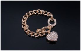 Crystal Heart and Horseshoe Chain Bracelet, the pendant heart charm and the horseshoe feature