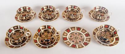 Royal Crown Derby Imari Pattern Set Of 7 Cups & Saucers, plus one extra saucer (15) Number 1128.