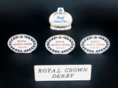 Royal Crown Derby Shop Display Plaques, 5 in total. 1. Date 1979, 2. Date 1981, 3. Date 1981, all