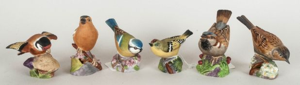 Royal Worcester Bird Figures, 6 in total, 1. Blue Tit, 2. Gold Finch, 3. Hedge Sparrow, 4.