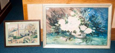 Robert Johnston Pastels, Still Life Floral Bouquet, Signed And Monogrammed, Framed And Glazed, 22