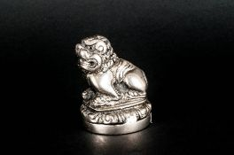 Antique Chinese Silver Fu Dog Figural Seal. 2.25 Inches High.