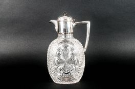 Victorian Silver and Hand Cut Crystal Claret Jug, Having a Plain Round Mount and Hinged Dome Lid
