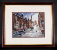 Bernard McMullen 1952 Street Scene Near Manchester Ship Canal 1950's. Oil on canvas, signed lower