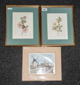 Two Prints Of Flowers, frame & glazed 12x10'' Together with a print of the Windmill Lytham,