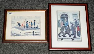 Two Modern Edition Lowry Prints titled 'The Raft. With a facsimile signature. Plus a similar print