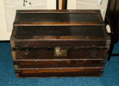 Early 20thC Hinged Trunk, Wood And Metal Strap Work, The Interior With Removable Top Shelf