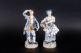 Meissen Very Fine Pair of 19th Century Blue and White Porcelain Figures with Gold Painted