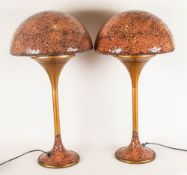 Art Deco Impressive Pair of Tall Toadstool Designed Table Lamps with Crackle Glass, Effect Shades